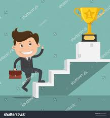 Walking Up Stairs With Crutches by Businessman Climbing Stairs Success Trophy Cup Stock Vector