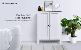 Bathroom Floor Storage Cabinets White Songmics Bathroom Floor Storage Cabinet With