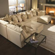 Beige Sectional Sofa Furniture Modern Two Toned Leather Sectional Sofa And White Round