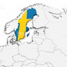 Map Sweden 3d Map Of Sweden With Swedish Flag On White Background 3d