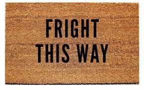 fright this way halloween doormat u2013 urban owl