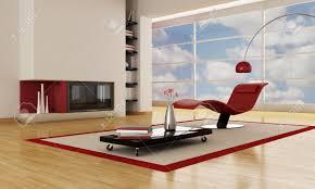 luxury modern living room with minimalist fireplace stock photo