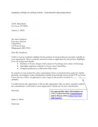 sample cover letter for non profit organization guamreview com