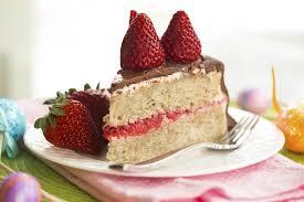 chocolate covered banana cake with strawberries and cream cheese