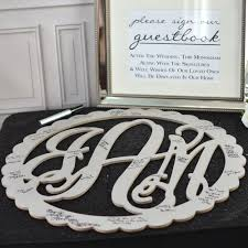 guest book alternatives wedding guest signature scalloped wood monogram