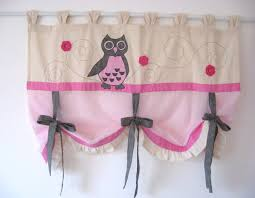 Grey Shabby Chic Curtains by Pink Grey Cute Owl Tie Up Curtain Baby Nursery Bedroom