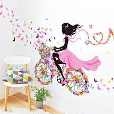 online buy wholesale wall e cartoon from china wall e cartoon modern cartoon butterfly girls flowers bike removable wall sticker vinyl decal mural home decor adesivo de