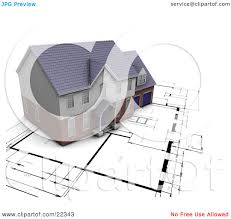 residential blueprints clipart illustration of a custom residential home resting on top