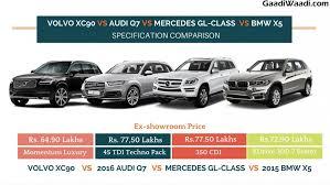 volvo xc90 vs audi q7 vs mercedes gl class vs bmw x5 specs