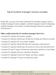 Sample Resume Manager by Top 8 Incident Manager Resume Samples 1 638 Jpg Cb U003d1428677107