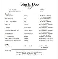 Actors Resume Template Glamorous Theater Resume Template 8 10 Acting Resume Templates