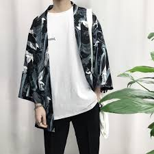 japanese style 2018 new japanese style men three quarter sleeve cotton linen