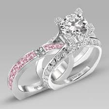bridal ring sets canada white and pink cubic zirconia 925 sterling silver white gold