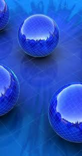 blue balls on the glass floor hd wallpaper