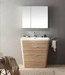 acqua milano 31 inch modern bathroom vanity white oak finish