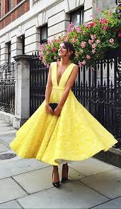 yellow dress yellow lace tea length prom dress yellow evening dress