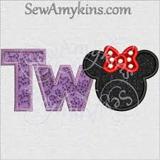 minnie mouse two letters tw applique machine embroidery