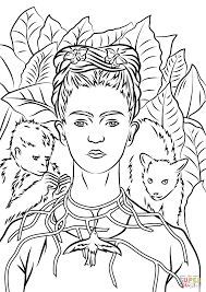 self portrait with necklace of thorns by frida kahlo coloring page