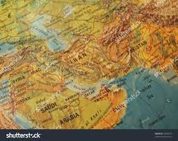 Middle East Geography Map by Detail Vintage Map Showing Middle East Stock Photo 32674675