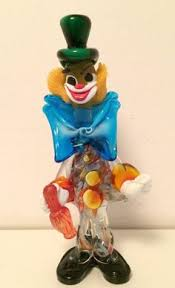 delightful murano glass clown with a billowing gown murano