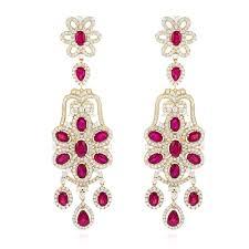 Chandelier Gold Earrings Designer Jewelry Chandelier Ruby Diamond Earrings By Luxurman 14k