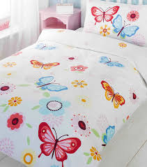Blue Butterfly Curtains Butterfly Bedding Set Girls White Single Duvet Cover With Pink