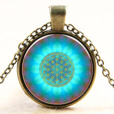 art glass necklace images New fashion blue flower of life logo pendant chakra necklace jpg