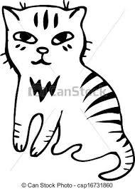 clip art vector of vector tabby cat black outline sketch