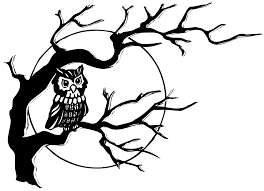 owl in tree clipart black and white clipartxtras