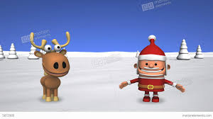 funny dancing santa claus and reindeer stock animation 5872980