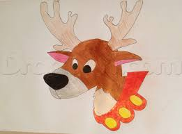 draw a cartoon reindeer step by step animals for kids for kids