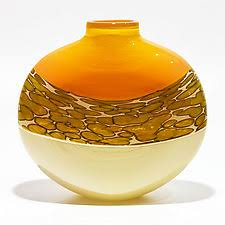 Yellow Glass Vase Unique Handmade Orange Art Glass Vases Artful Home