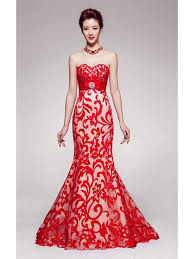 evening dresses for weddings strapless floral pattern floor length mermaid evening gown