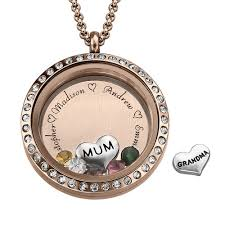 charm locket necklace images Engraved floating charms locket with rose gold plating quot for mum jpg