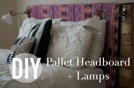 diy pallet headboard lamps ikea hack youtube