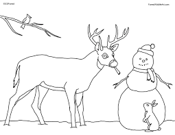 forest wildlife art coloring book page for kids christmas deer
