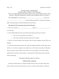 agreement separation agreement form