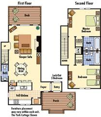 williamsburg vacation floorplan for cottage rentals at kings creek
