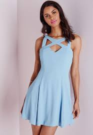 crepe cut out swing skater dress powder blue missguided
