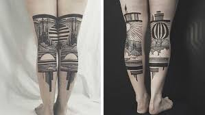 you u0027ll love these bold diptych leg tattoos so bad so good