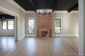 White Washed Laminate Wood Flooring Living Room Dining Room Black Ceiling Wood Beams Whitewashed