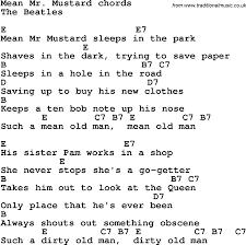 mr mustard lyrics with guitar chords for mr mustard