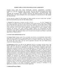 mobile application end user license agreement template 1