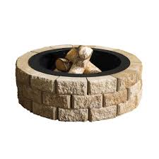 Outdoor Firepit Kit Pavestone 40 In W X 20 In H Rockwall Pit Kit Pecan