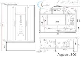 aegean white 1500mm x 900mm steam shower cabin and whirlpool bath