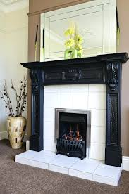 dramatic black white fireplace glass tile surround pictures mosaic