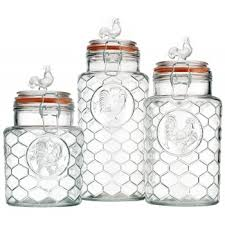 glass kitchen canister sets home essentials glass rooster kitchen canister set 3 pc