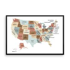 Maine State Usa Map by Usa Map With State Capitals Wall Art Print The Pixel Prince