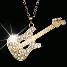 guitar pendant necklace images Fashion gold guitar punk long chain necklace big pendant necklace jpg