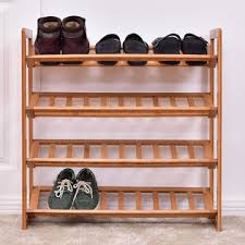 shoe rack entryway goplus 4 tier bamboo shoe rack entryway shoe shelf holder storage